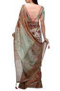 Hand painted floral sari with blouse & petticoat