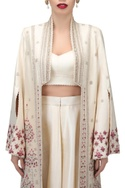 Dupion silk embroidered pottery motifs long jacket