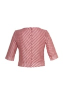 Diagonal print blouse with button closure