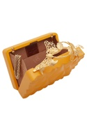 Box clutch with butterfly carved handle