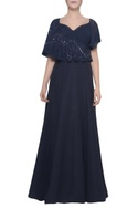Cape embroidered gown