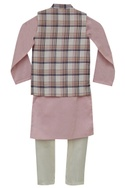 Checkered nehru jacket with kurta & churidar