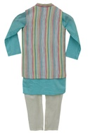 Stripe nehru jacket with kurta & churidar