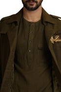 Collared handwoven trench jacket with epaulettes