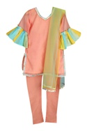 Frill sleeves kurta with pants and dupatta