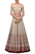 Off shoulder blouse and embroidered lehenga