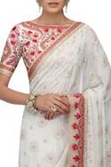 Zardozi & chikankari embroidered sari with blouse
