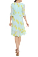 Potted printed wrap dress with ruffle detail