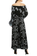Lapel collar off shoulder top with palazzo pants