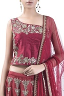 One shoulder blouse with embroidered lehenga & dupatta
