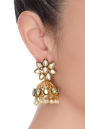 Kundan jhumkis with pearls