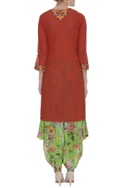 Embroidered kurta with dhoti pants & dupatta