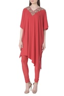 Asymmetric embroidered tunic with pants