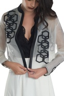Bomber jacket with leather applique