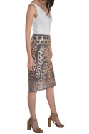 Leather applique pencil skirt