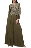 Embroidered short jacket with flared palazzos