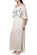 Off shoulder Embroidered cape dress