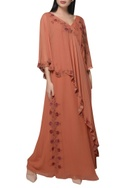 Embroidered layered kaftan dress