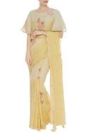Handwoven saree with hand block motifs