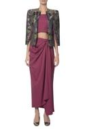 Jacquard jacket with inner & draped skirt