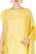 Foil print tunic with cowl skirt