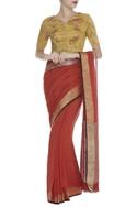 Rose motif Hand Block print sari Blouse