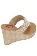 Pearl & brocade work slip-on wedges