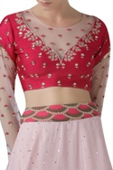 Embroidered Blouse and Printed  Skirt Set