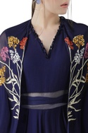Pleated Jumpsuit with Embroidered Cape