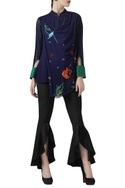 Embroidered Draped Shirt