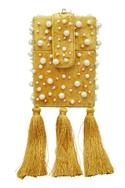 Pearl embellished square box clutch