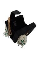 Pearl embellished box clutch