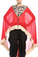 Red & gold sequins-embellished high-low cape