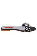 Black pearl embellished flat sandals