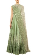 Mint ombre anarkali with mirror embroidered dupatta