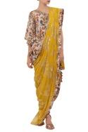 Crepe silk hand painted dhoti sari set