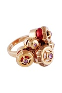 Multi-colored gold plated brass pearl warrior cocktail ring