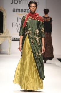 Forest green embroidered kurta with olive skirt