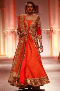 Red embroidered jacket with orange anarkali & dupatta