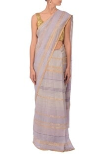 Pale grey & gold zari striped linen sari