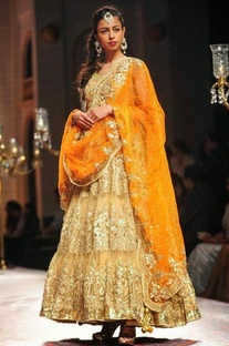 Beige and orange embroidered anarkali set