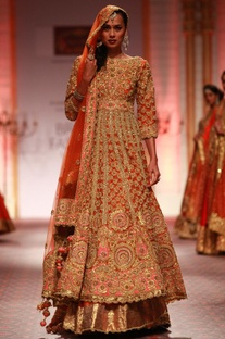 Orange and gold embroidered anarkali with lehenga & dupatta