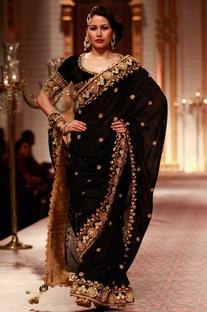 Black and antique gold embroidered sari