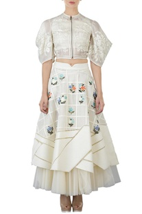 Ivory floral applique layered skirt
