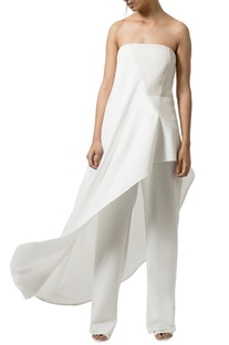 Ivory�textured layered strapless jumpsuit