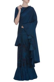 Printed & ruffle sari with thread embroidery