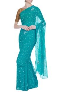 Pure chiffon resham saree with unstitched blouse