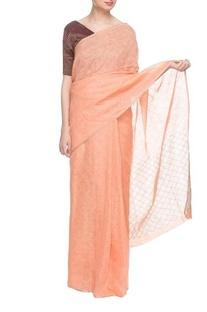 Peach handwoven linen sari
