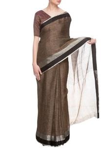 Brown linen handwoven sari