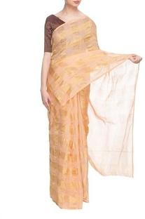 Orange & gold silk handwoven sari